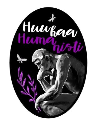 Huuhaa humanisti -haalarimerkki, digitaalimaalaus, 2018