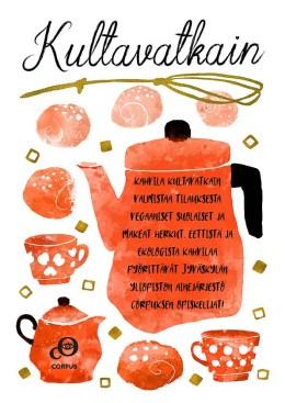 Kahvila Kultavatkain -juliste, 2019