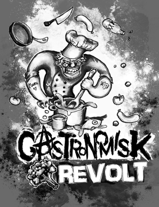 Gastronomisk Revolt -mainoskuvitus, Ravintola Kuparipaja, 2019